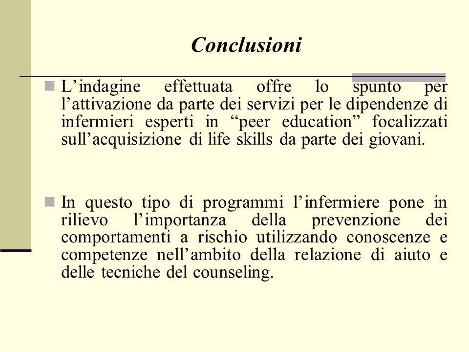 """L'indagine effettuata offre lo spunto per l'attivazione da parte dei servizi per le dipendenze di infermieri esperti in """"peer education"""" focalizzati s"""
