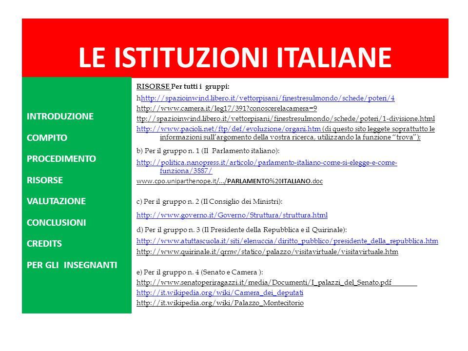 LE ISTITUZIONI ITALIANE RISORSE Per tutti i gruppi: hhttp://spazioinwind.libero.it/vettorpisani/finestresulmondo/schede/poteri/4http://spazioinwind.li