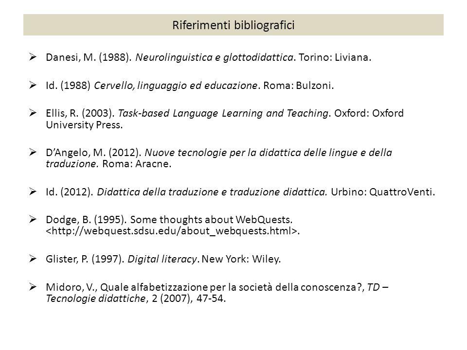 Riferimenti bibliografici  Danesi, M. (1988). Neurolinguistica e glottodidattica. Torino: Liviana.  Id. (1988) Cervello, linguaggio ed educazione. R