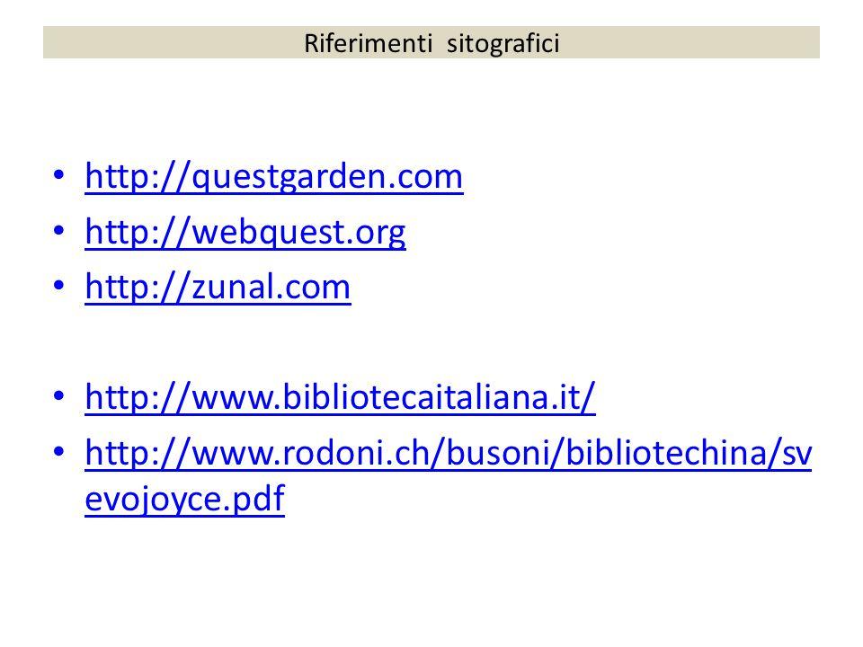 Riferimenti sitografici http://questgarden.com http://webquest.org http://zunal.com http://www.bibliotecaitaliana.it/ http://www.rodoni.ch/busoni/bibl
