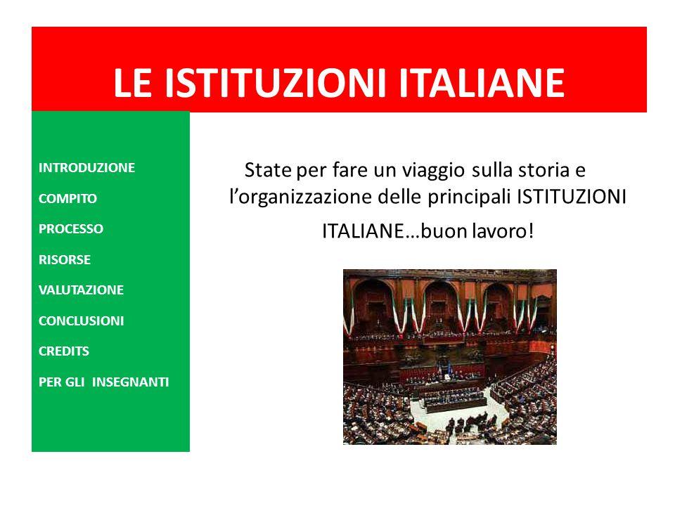 LE ISTITUZIONI ITALIANE State per fare un viaggio sulla storia e l'organizzazione delle principali ISTITUZIONI ITALIANE…buon lavoro! INTRODUZIONE COMP