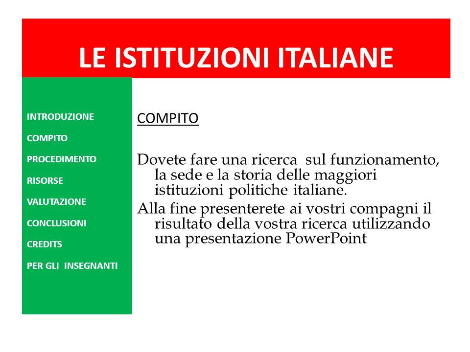 LE ISTITUZIONI ITALIANE COMPITO Dovete fare una ricerca sul funzionamento, la sede e la storia delle maggiori istituzioni politiche italiane. Alla fin