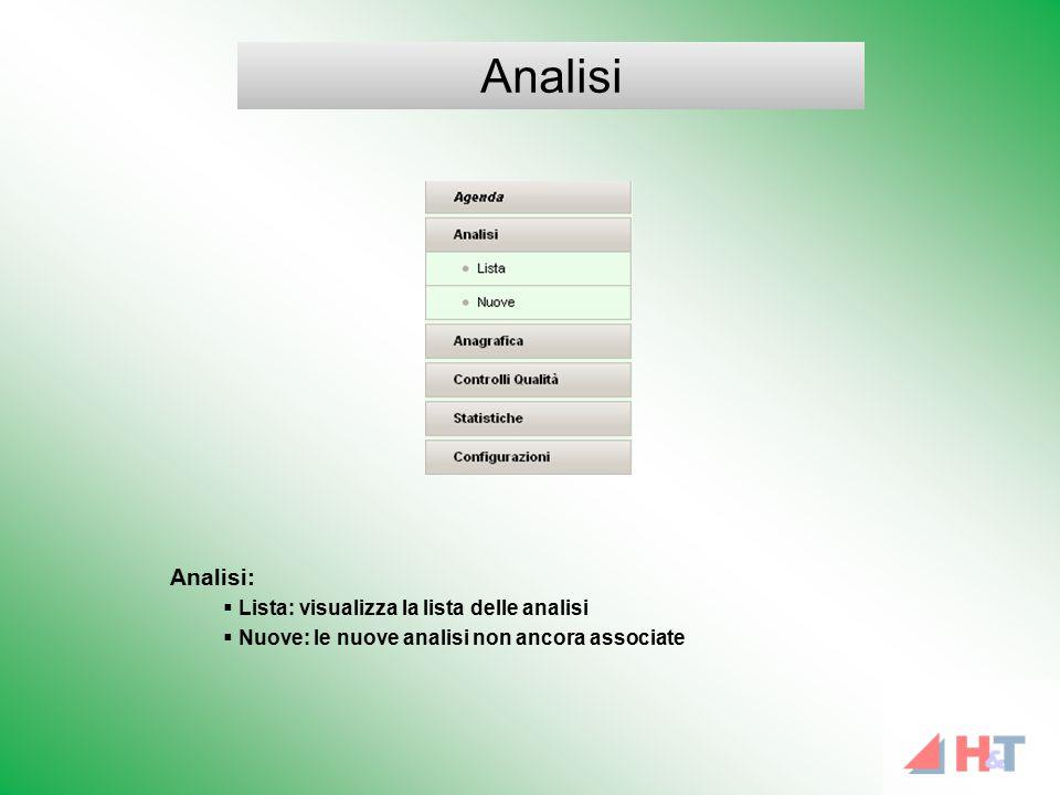 Analisi:  Lista: visualizza la lista delle analisi  Nuove: le nuove analisi non ancora associate Analisi