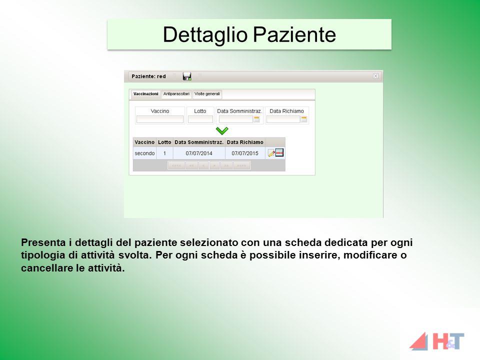 Presenta i dettagli del paziente selezionato con una scheda dedicata per ogni tipologia di attività svolta. Per ogni scheda è possibile inserire, modi