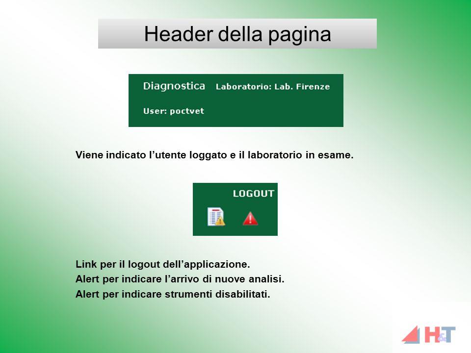Viene indicato l'utente loggato e il laboratorio in esame. Link per il logout dell'applicazione. Alert per indicare l'arrivo di nuove analisi. Alert p