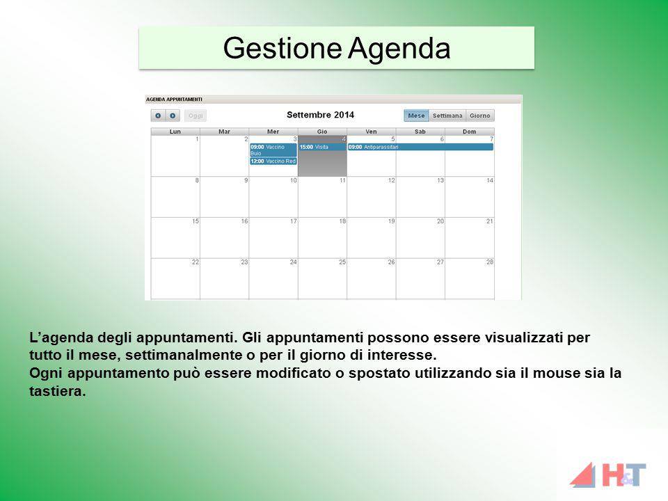 L'agenda degli appuntamenti. Gli appuntamenti possono essere visualizzati per tutto il mese, settimanalmente o per il giorno di interesse. Ogni appunt