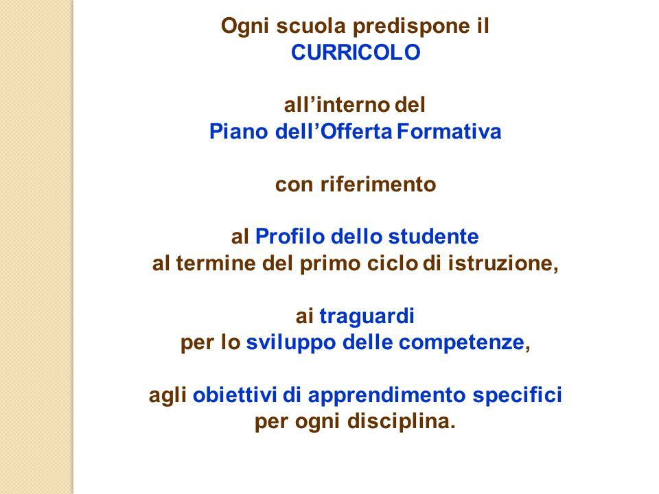 Ogni scuola predispone il CURRICOLO all'interno del Piano dell'Offerta Formativa con riferimento al Profilo dello studente al termine del primo ciclo