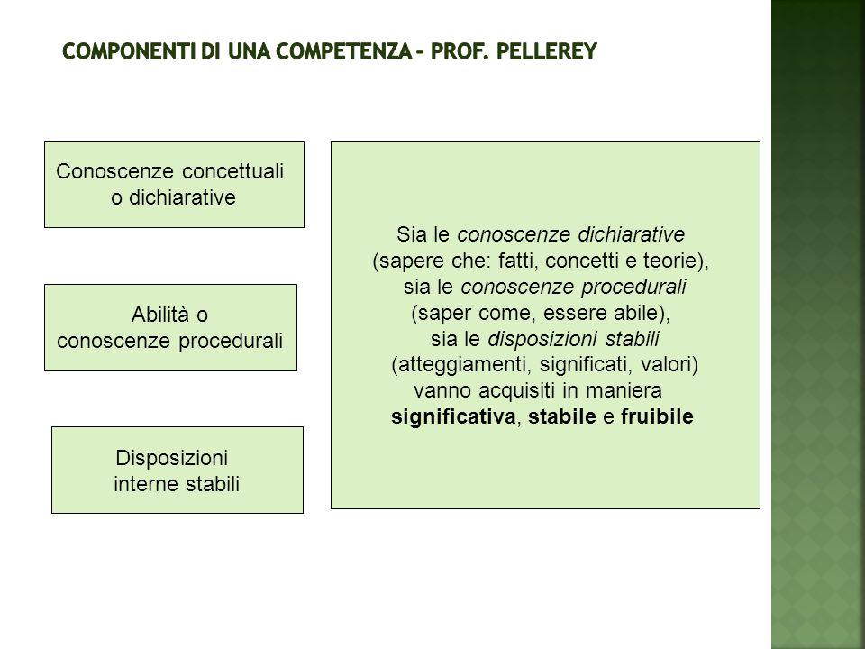 Disposizioni interne stabili Abilità o conoscenze procedurali Conoscenze concettuali o dichiarative Sia le conoscenze dichiarative (sapere che: fatti,