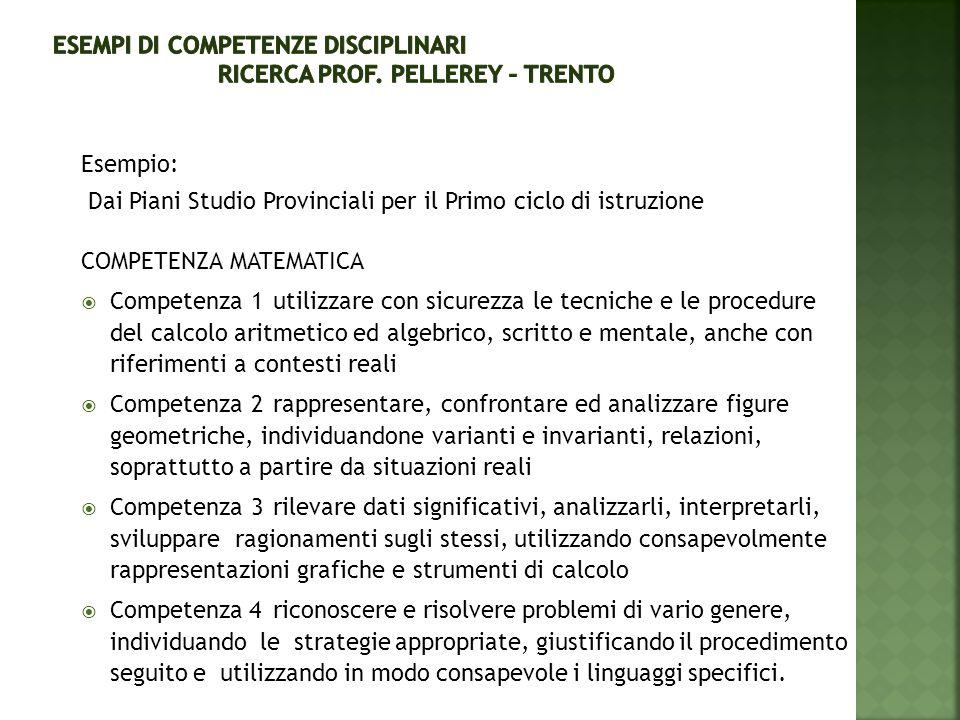Esempio: Dai Piani Studio Provinciali per il Primo ciclo di istruzione COMPETENZA MATEMATICA  Competenza 1utilizzare con sicurezza le tecniche e le p