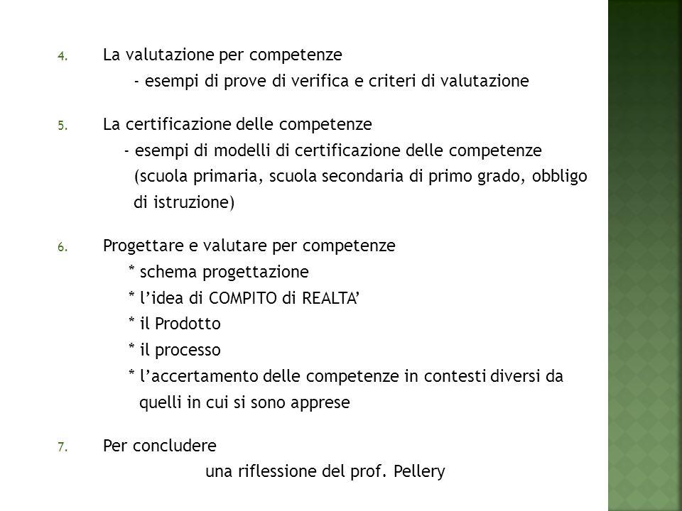 4. La valutazione per competenze - esempi di prove di verifica e criteri di valutazione 5. La certificazione delle competenze - esempi di modelli di c