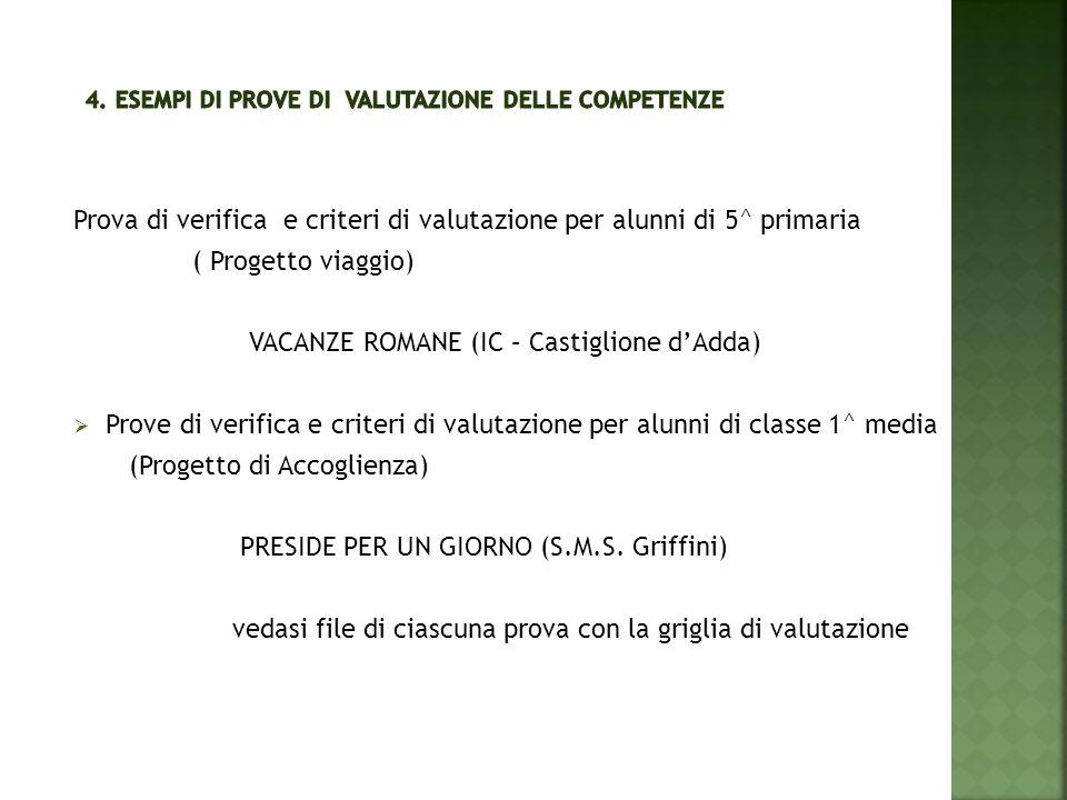 Prova di verifica e criteri di valutazione per alunni di 5^ primaria ( Progetto viaggio) VACANZE ROMANE (IC – Castiglione d'Adda)  Prove di verifica