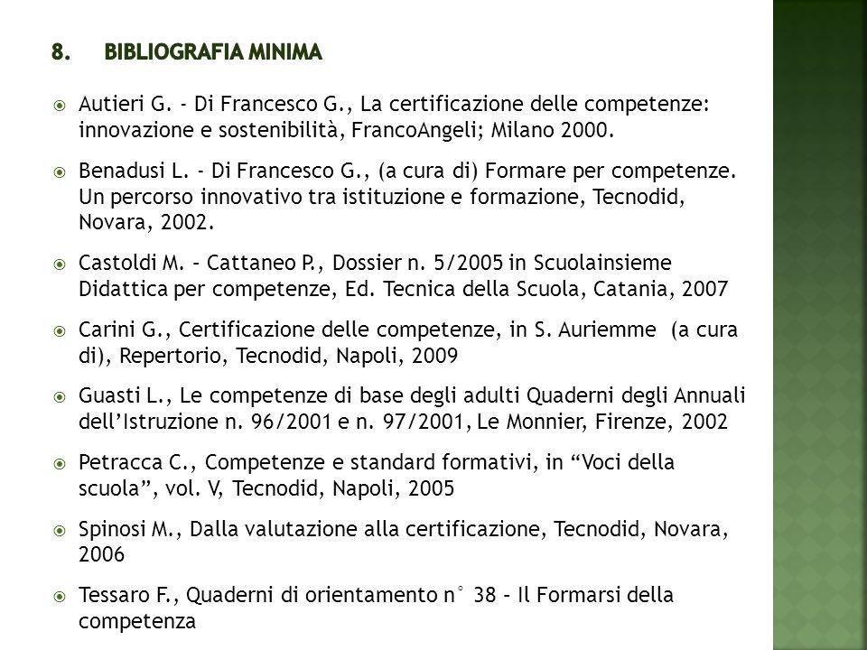  Autieri G. - Di Francesco G., La certificazione delle competenze: innovazione e sostenibilità, FrancoAngeli; Milano 2000.  Benadusi L. - Di Frances