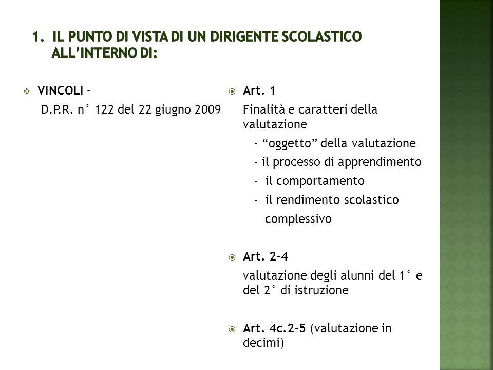 """ VINCOLI – D.P.R. n° 122 del 22 giugno 2009  Art. 1 Finalità e caratteri della valutazione - """"oggetto"""" della valutazione - il processo di apprendime"""