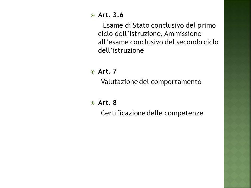  Art. 3.6 Esame di Stato conclusivo del primo ciclo dell'istruzione, Ammissione all'esame conclusivo del secondo ciclo dell'istruzione  Art. 7 Valut