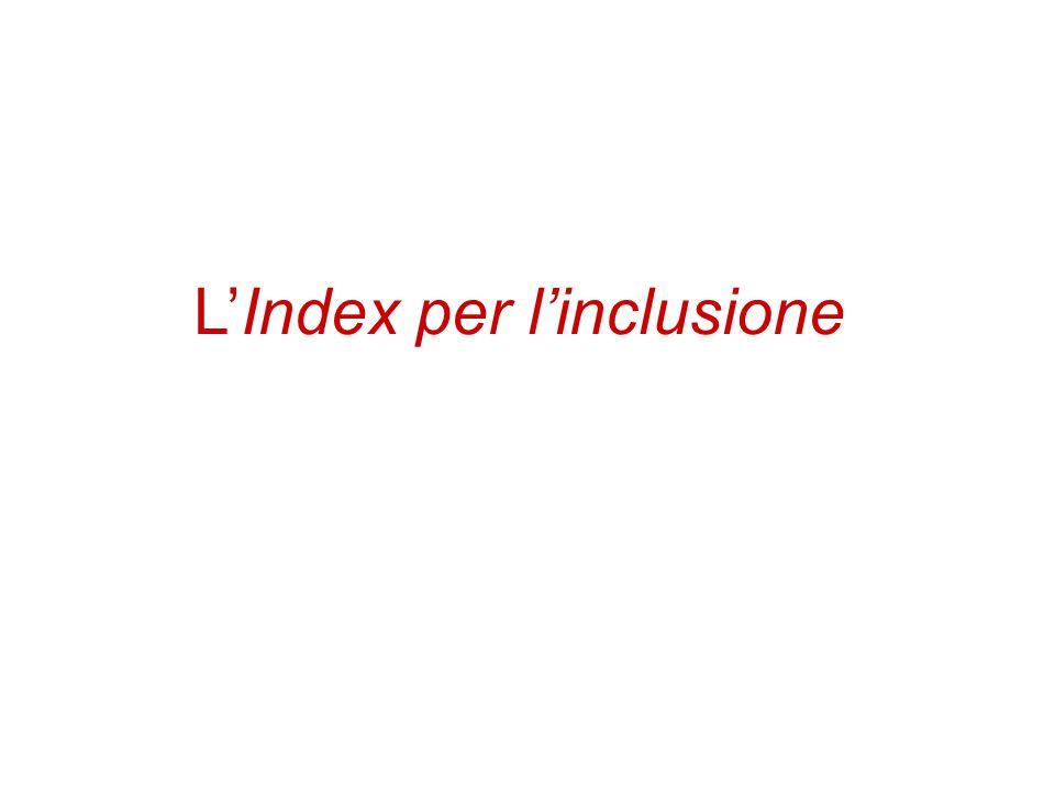 Indice 1.L'Index per l'inclusione: introduzione, concetti chiave e dimensioni 2.Utilizzare l'Index: valutazione e progettazione Il seguente materiale utilizzato per la FAD è una rielaborazione di alcuni dei contenuti del testo Booth T.
