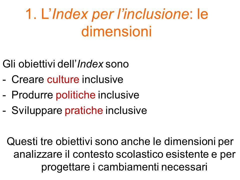 1. L'Index per l'inclusione: le dimensioni Gli obiettivi dell'Index sono -Creare culture inclusive -Produrre politiche inclusive -Sviluppare pratiche