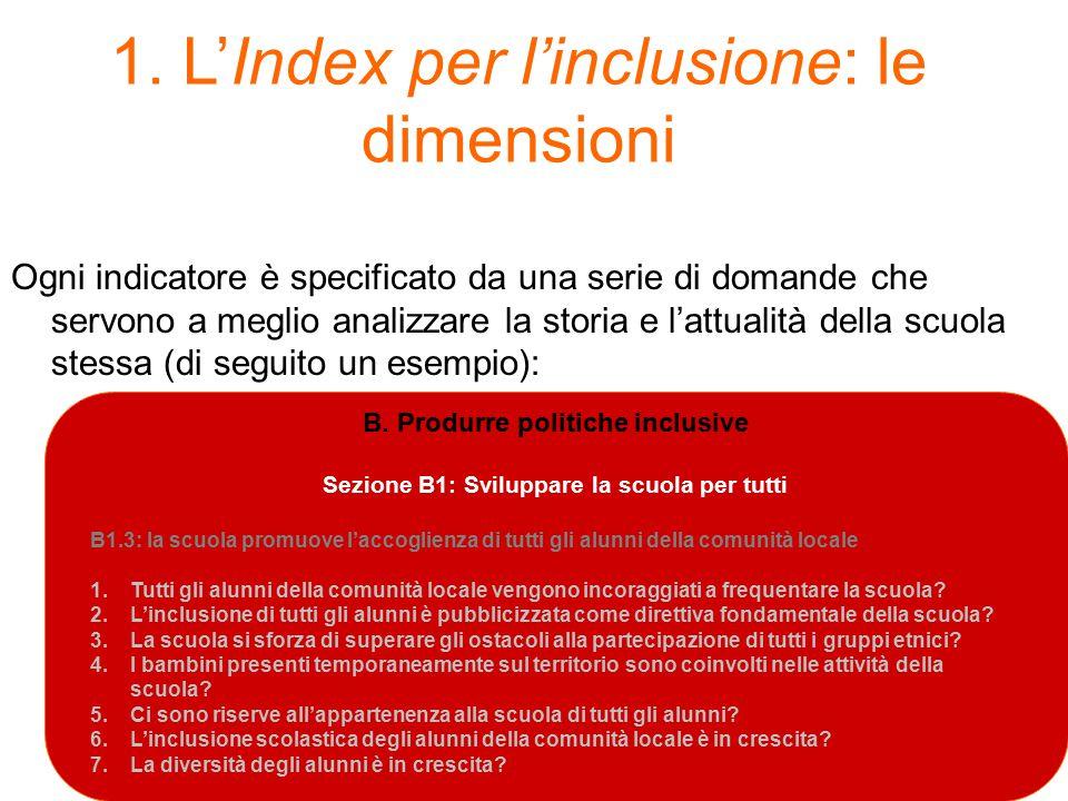 1. L'Index per l'inclusione: le dimensioni Ogni indicatore è specificato da una serie di domande che servono a meglio analizzare la storia e l'attuali