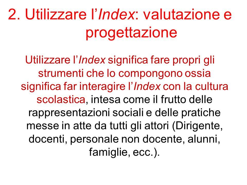 2. Utilizzare l'Index: valutazione e progettazione Utilizzare l'Index significa fare propri gli strumenti che lo compongono ossia significa far intera