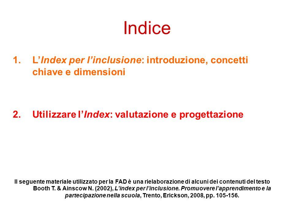 Indice 1.L'Index per l'inclusione: introduzione, concetti chiave e dimensioni 2.Utilizzare l'Index: valutazione e progettazione Il seguente materiale