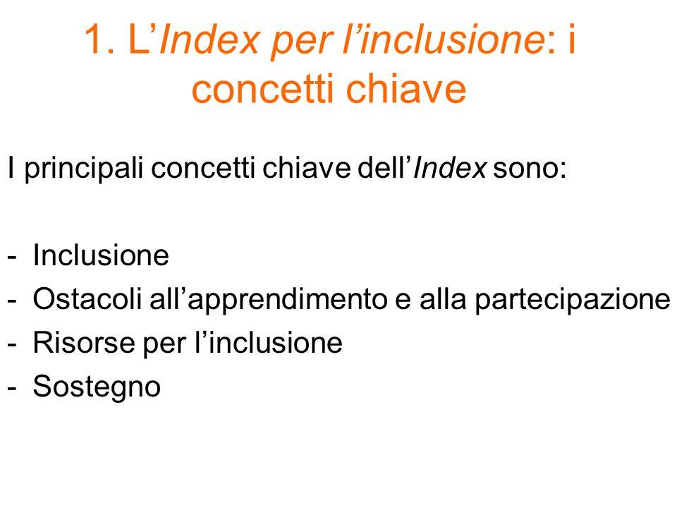 1. L'Index per l'inclusione: i concetti chiave I principali concetti chiave dell'Index sono: -Inclusione -Ostacoli all'apprendimento e alla partecipaz