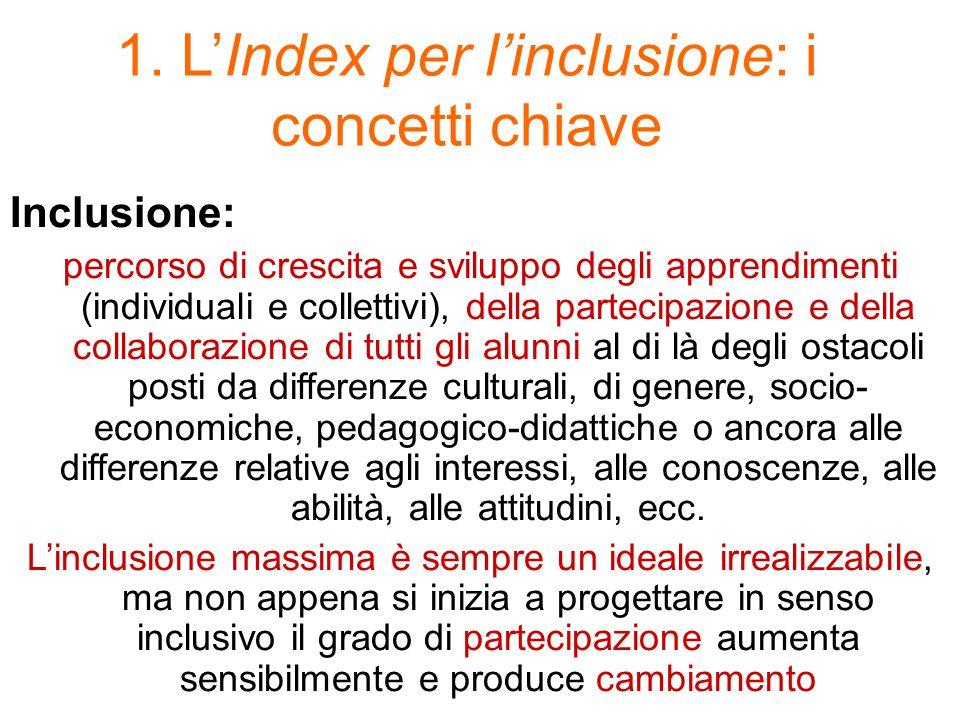 1. L'Index per l'inclusione: i concetti chiave Inclusione: percorso di crescita e sviluppo degli apprendimenti (individuali e collettivi), della parte