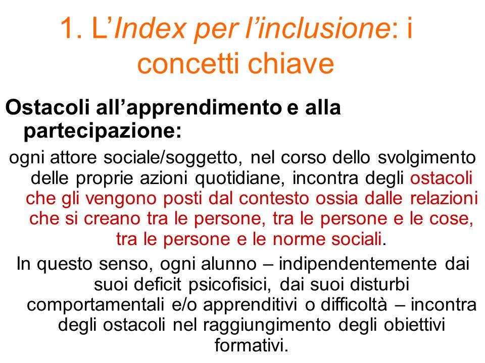 1. L'Index per l'inclusione: i concetti chiave Ostacoli all'apprendimento e alla partecipazione: ogni attore sociale/soggetto, nel corso dello svolgim