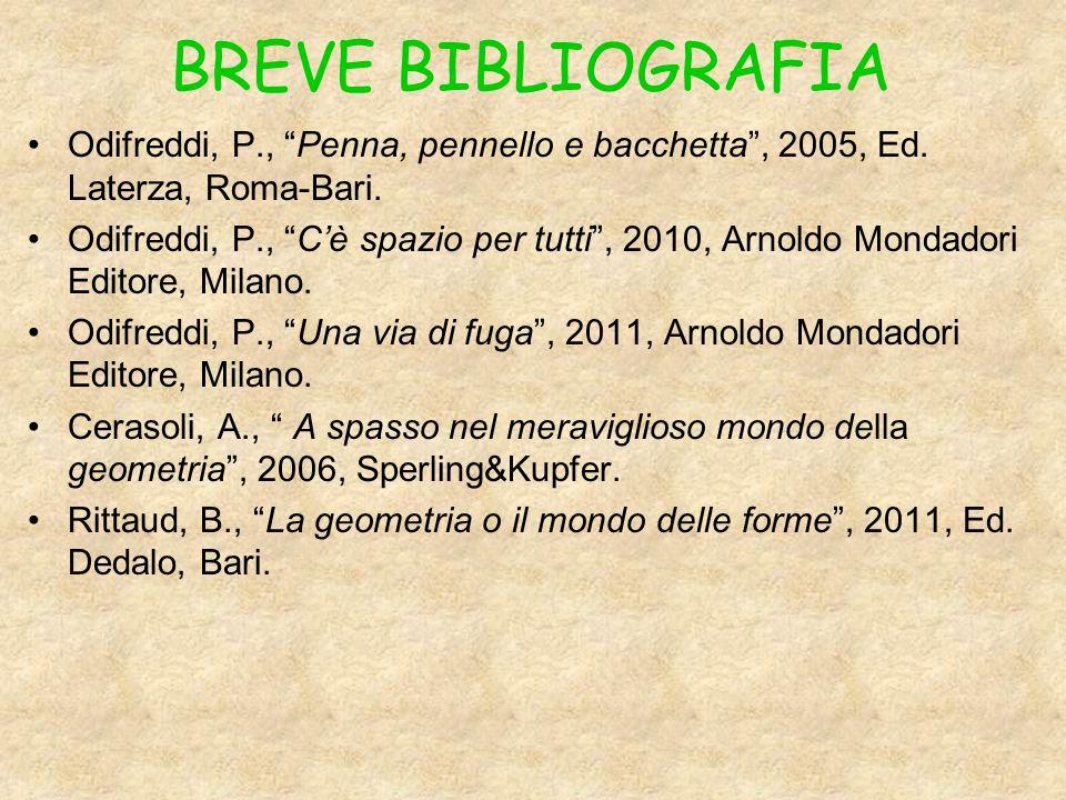 BREVE BIBLIOGRAFIA Odifreddi, P., Penna, pennello e bacchetta , 2005, Ed.