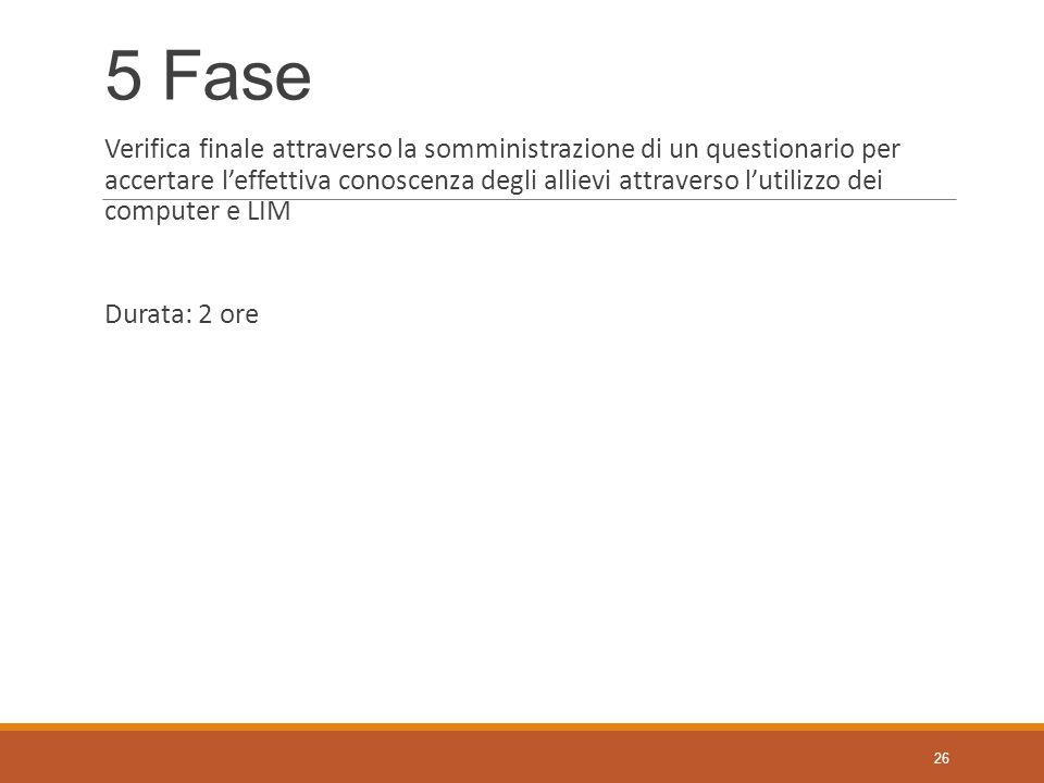 5 Fase Verifica finale attraverso la somministrazione di un questionario per accertare l'effettiva conoscenza degli allievi attraverso l'utilizzo dei