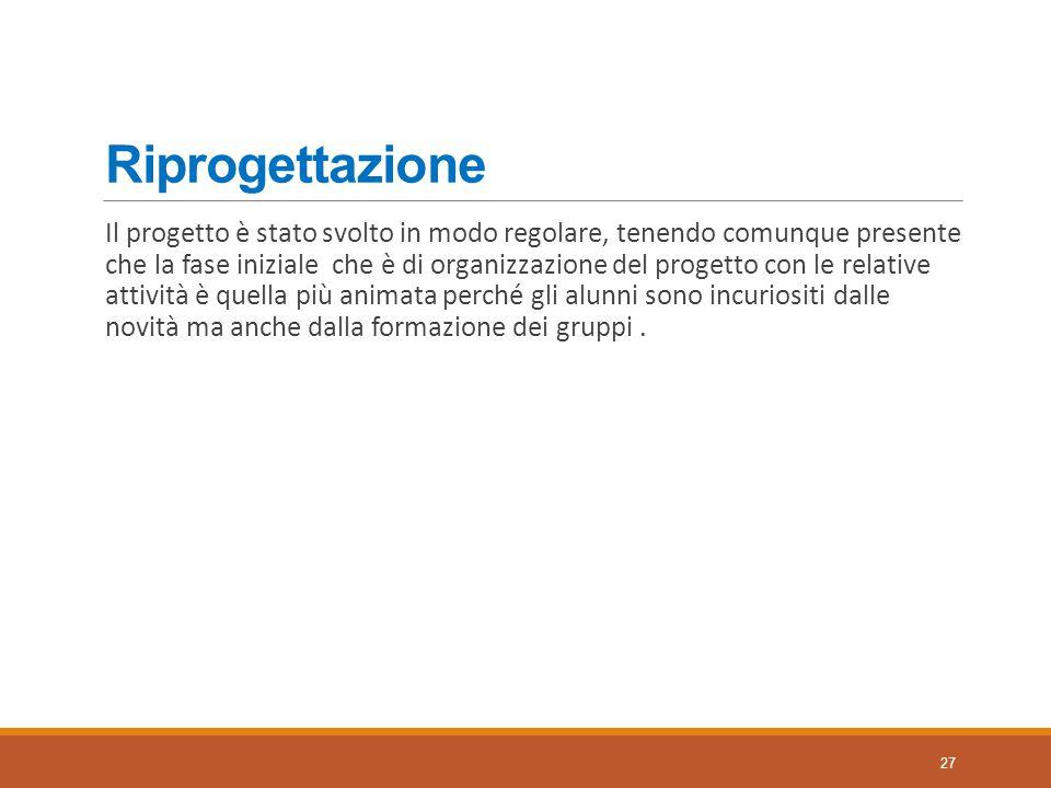 Riprogettazione Il progetto è stato svolto in modo regolare, tenendo comunque presente che la fase iniziale che è di organizzazione del progetto con l