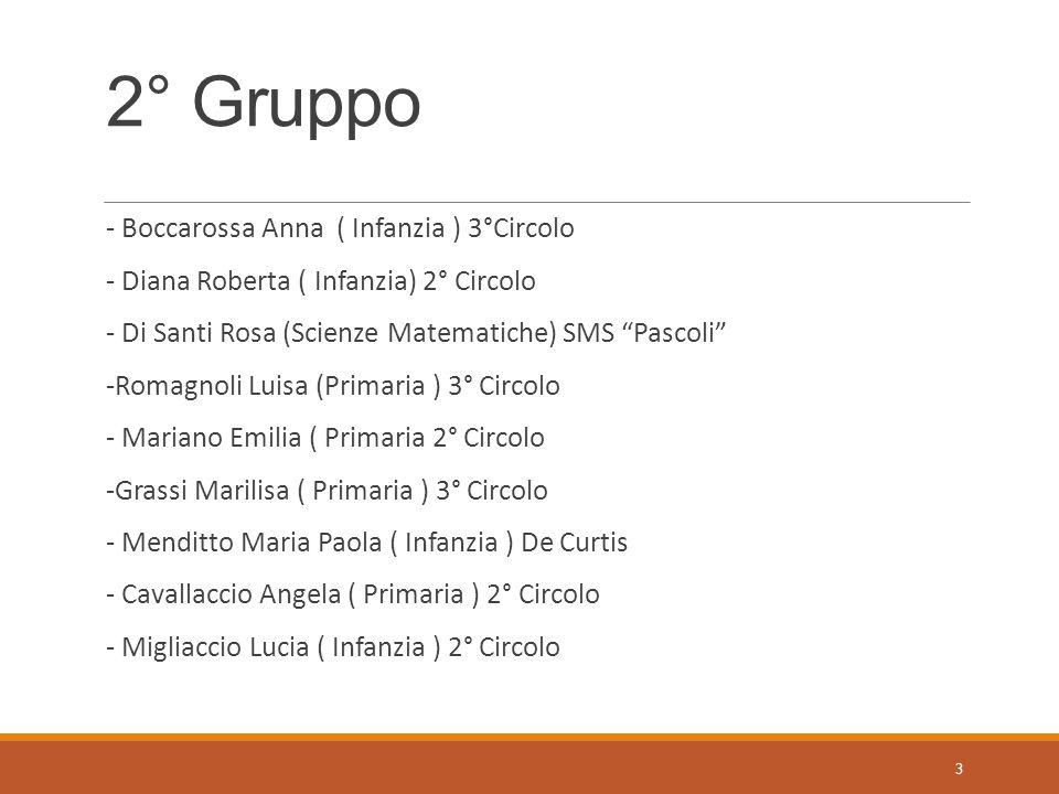 """2° Gruppo - Boccarossa Anna ( Infanzia ) 3°Circolo - Diana Roberta ( Infanzia) 2° Circolo - Di Santi Rosa (Scienze Matematiche) SMS """"Pascoli"""" -Romagno"""
