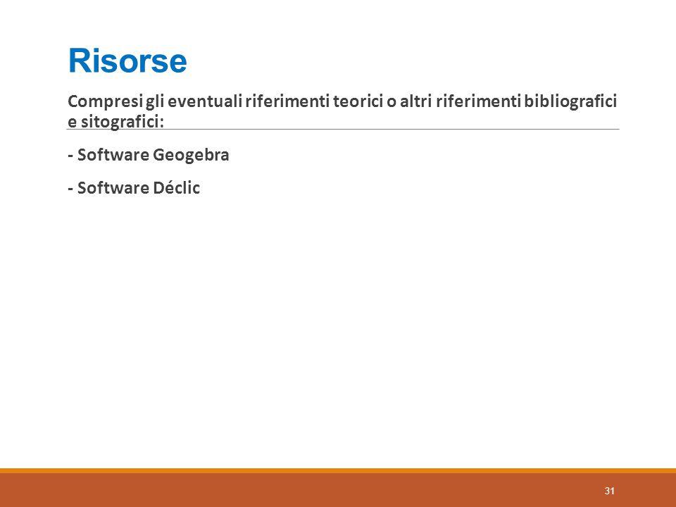 Risorse Compresi gli eventuali riferimenti teorici o altri riferimenti bibliografici e sitografici: - Software Geogebra - Software Déclic 31
