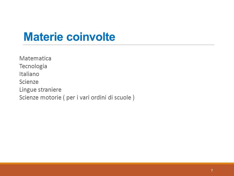 Materie coinvolte Matematica Tecnologia Italiano Scienze Lingue straniere Scienze motorie ( per i vari ordini di scuole ) 7