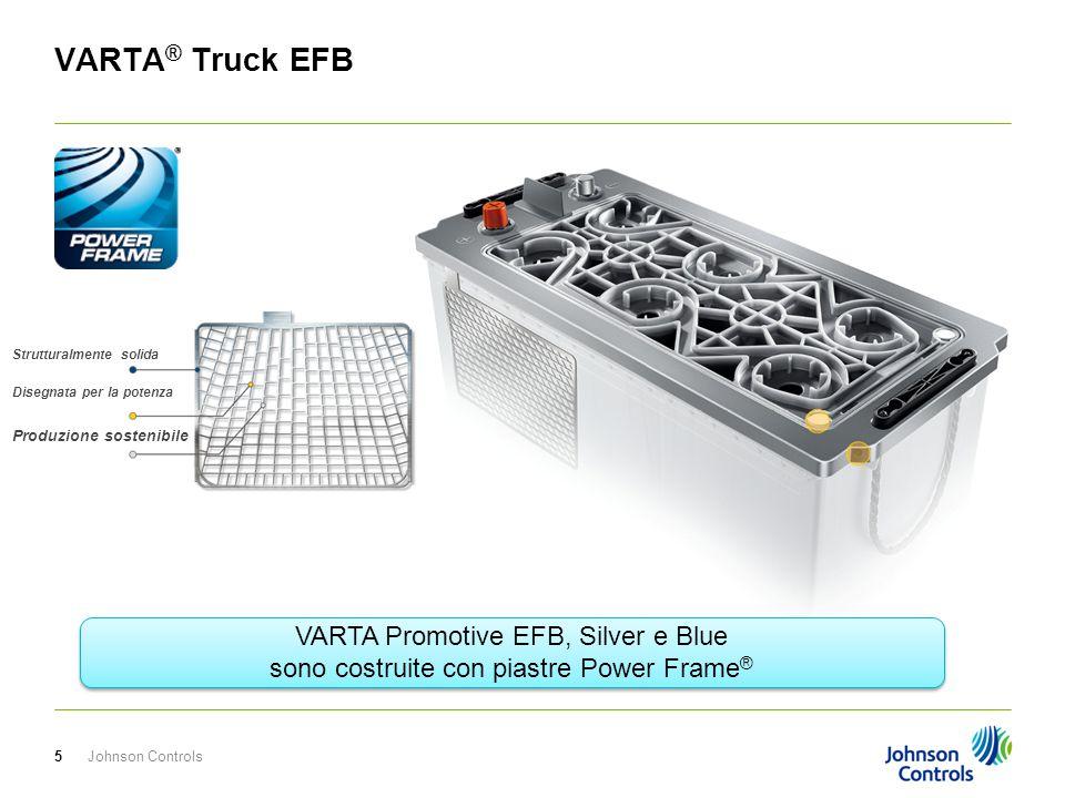 Johnson Controls6 VARTA ® Truck EFB Il design unico del coperchio a labirinto fornisce protezione al 100% della fuoriuscita, dell'acido anche fino a 90 °di inclinazione.