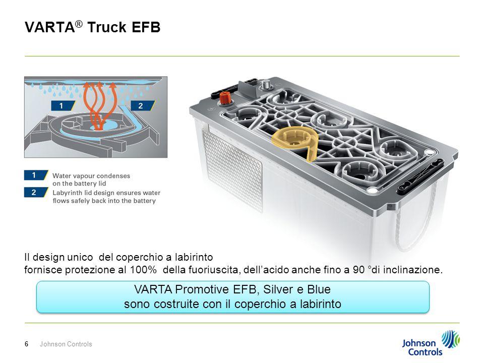 Johnson Controls7 VARTA ® Truck EFB Protezione dai ritorni di fiamma con le piastrine blocca fiamme.