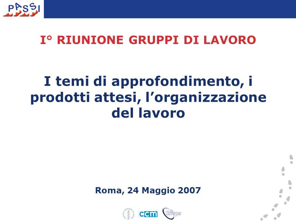 I° RIUNIONE GRUPPI DI LAVORO I temi di approfondimento, i prodotti attesi, l'organizzazione del lavoro Roma, 24 Maggio 2007