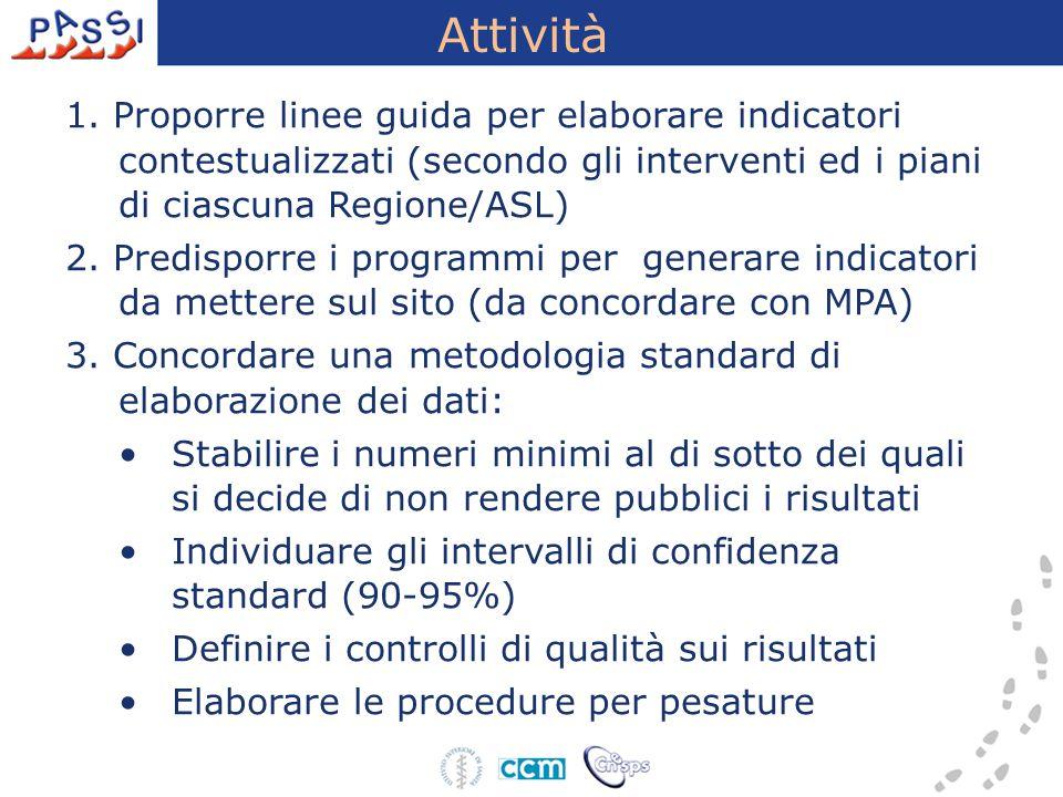 Attività 1. Proporre linee guida per elaborare indicatori contestualizzati (secondo gli interventi ed i piani di ciascuna Regione/ASL) 2. Predisporre