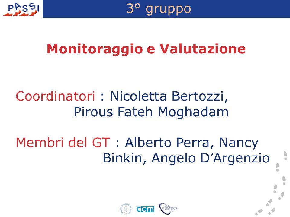 3° gruppo Monitoraggio e Valutazione Coordinatori : Nicoletta Bertozzi, Pirous Fateh Moghadam Membri del GT : Alberto Perra, Nancy Binkin, Angelo D'Ar