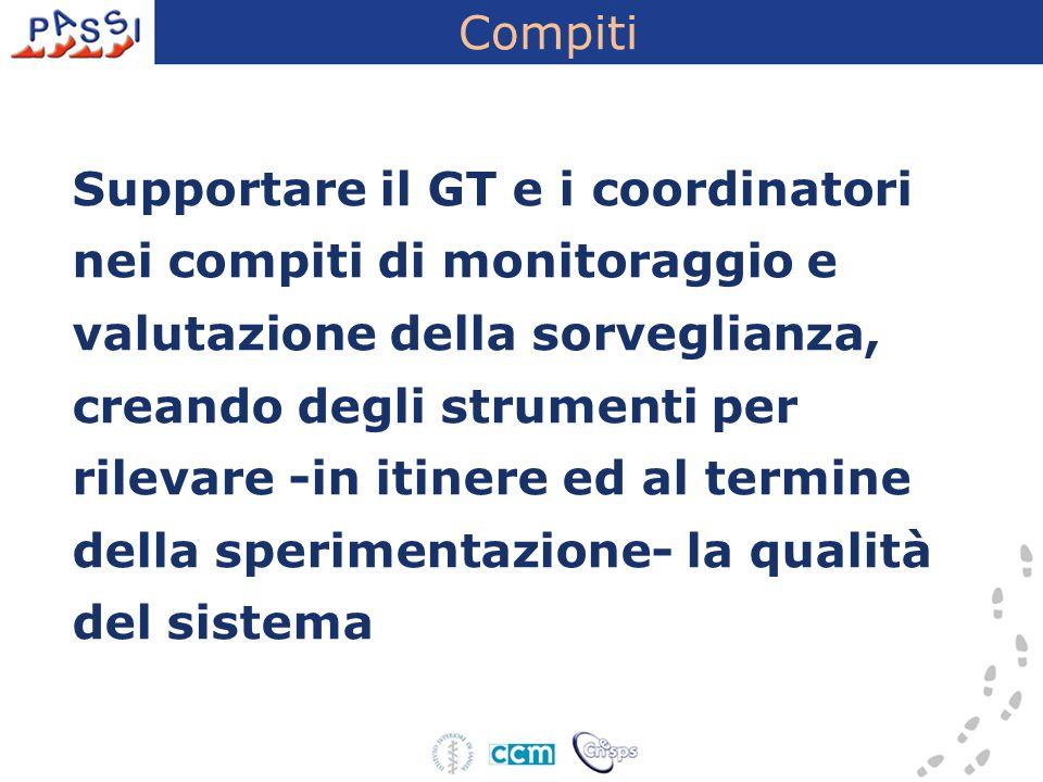 Compiti Supportare il GT e i coordinatori nei compiti di monitoraggio e valutazione della sorveglianza, creando degli strumenti per rilevare -in itine