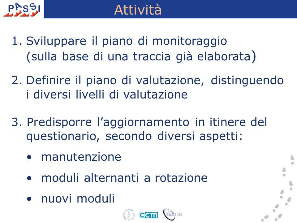 Attività 1.Sviluppare il piano di monitoraggio (sulla base di una traccia già elaborata ) 2.Definire il piano di valutazione, distinguendo i diversi l