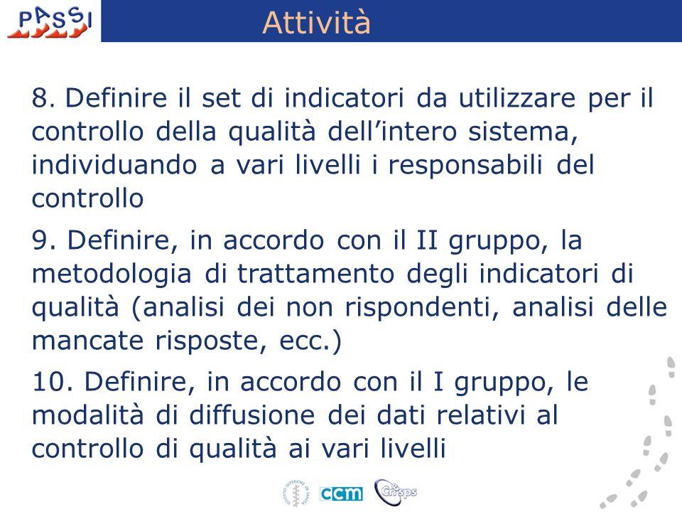 Attività 8. Definire il set di indicatori da utilizzare per il controllo della qualità dell'intero sistema, individuando a vari livelli i responsabili