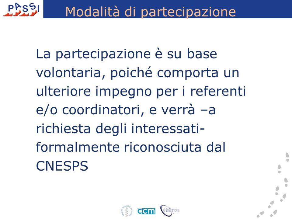 Modalità di partecipazione La partecipazione è su base volontaria, poiché comporta un ulteriore impegno per i referenti e/o coordinatori, e verrà –a r