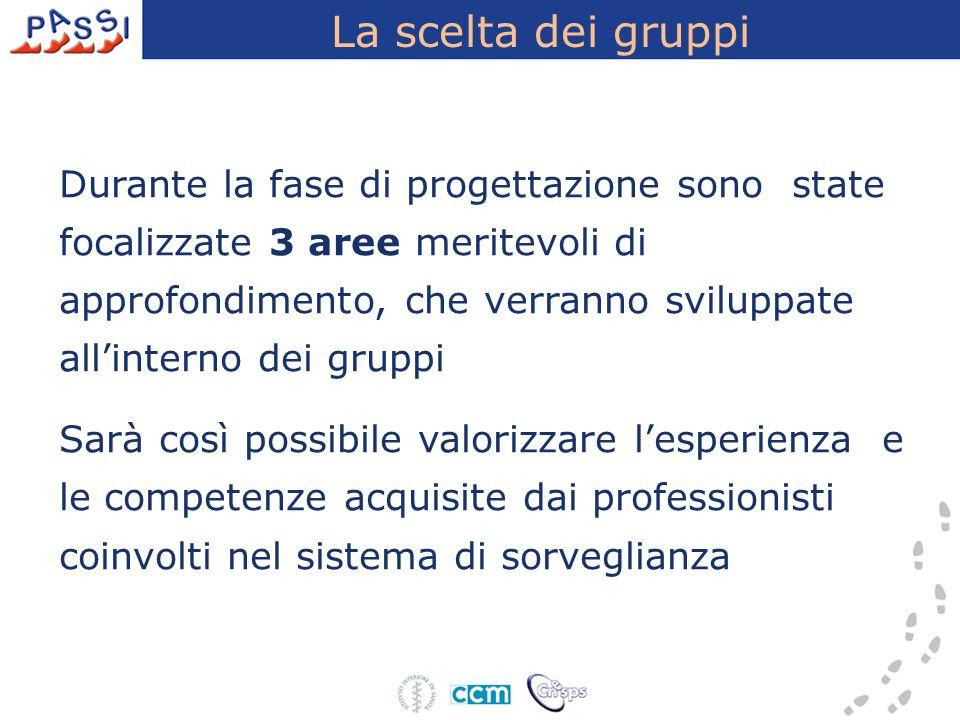 La scelta dei gruppi Durante la fase di progettazione sono state focalizzate 3 aree meritevoli di approfondimento, che verranno sviluppate all'interno