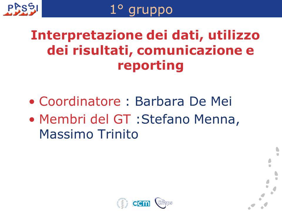 1° gruppo Interpretazione dei dati, utilizzo dei risultati, comunicazione e reporting Coordinatore : Barbara De Mei Membri del GT :Stefano Menna, Mass