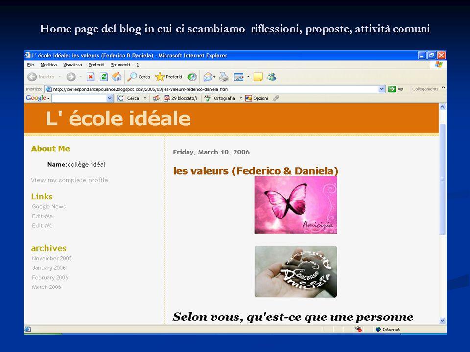 Home page del blog in cui ci scambiamo riflessioni, proposte, attività comuni