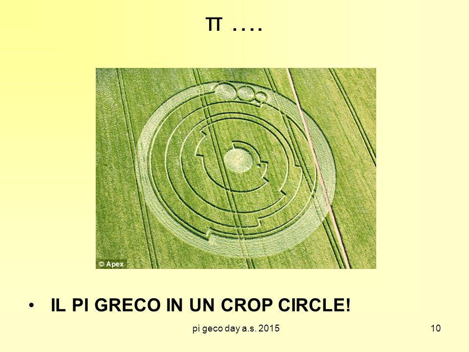 pi geco day a.s. 2015 π …. IL PI GRECO IN UN CROP CIRCLE! 10