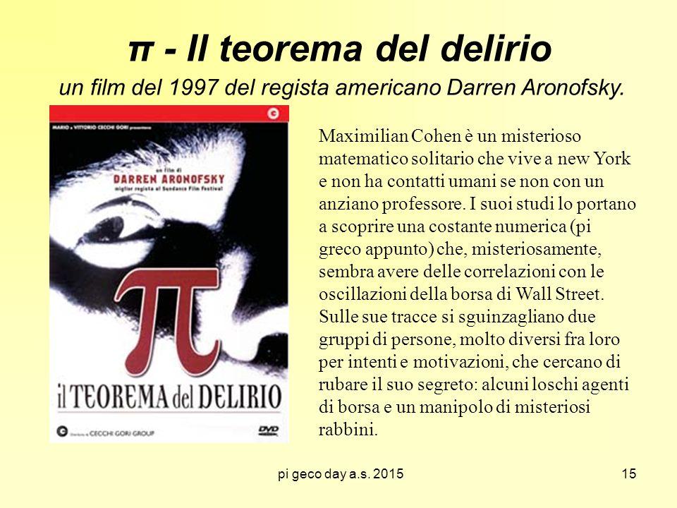 pi geco day a.s. 2015 π - Il teorema del delirio un film del 1997 del regista americano Darren Aronofsky. Maximilian Cohen è un misterioso matematico