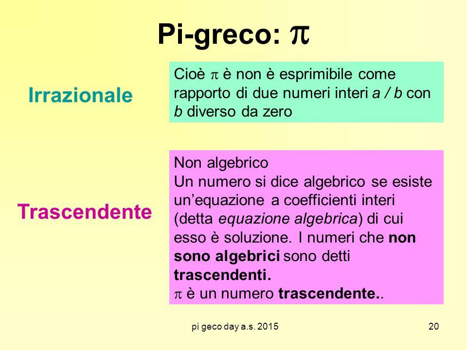 pi geco day a.s. 2015 Pi-greco:  Irrazionale Trascendente Cioè  è non è esprimibile come rapporto di due numeri interi a / b con b diverso da zero N