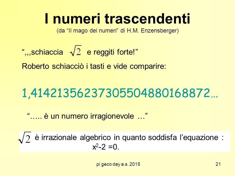 """pi geco day a.s. 2015 I numeri trascendenti (da """"Il mago dei numeri"""" di H.M. Enzensberger) """",,,schiaccia e reggiti forte!"""" Roberto schiacciò i tasti e"""
