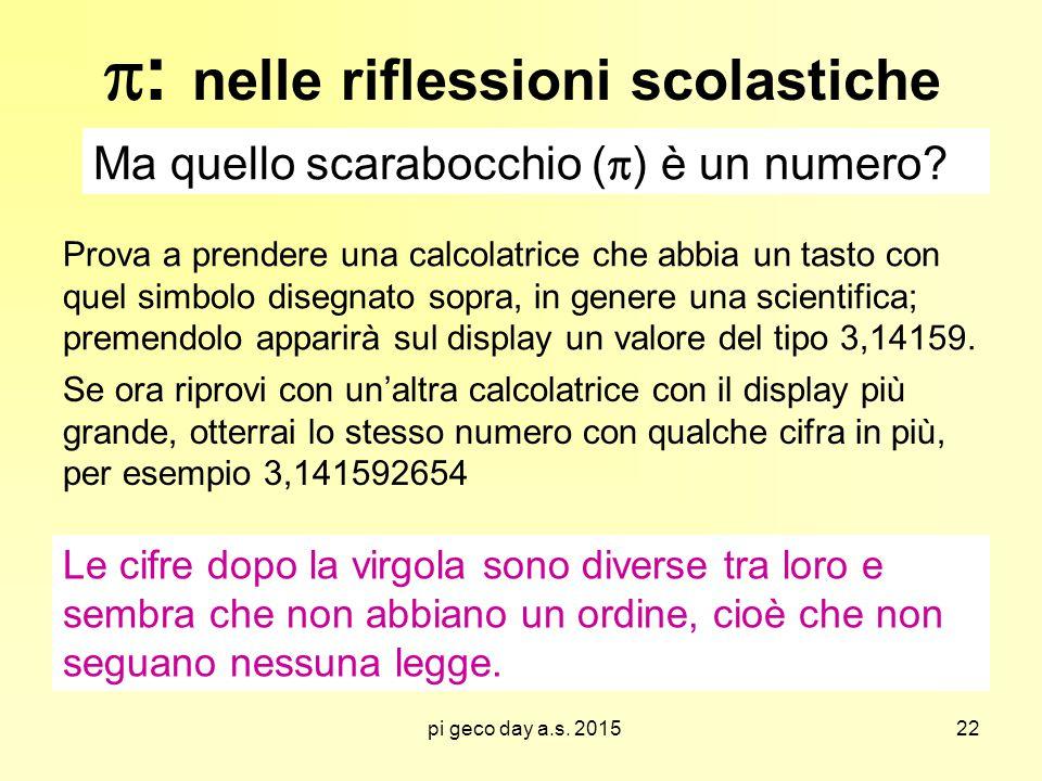 pi geco day a.s.2015  : nelle riflessioni scolastiche Ma quello scarabocchio (  ) è un numero.