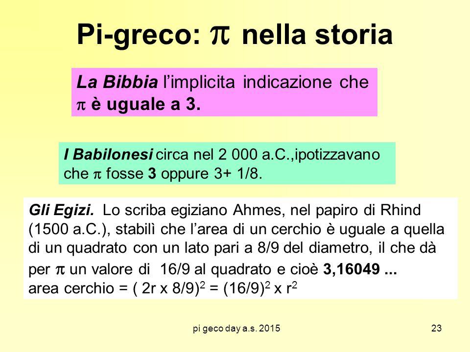 pi geco day a.s. 2015 Pi-greco:  nella storia La Bibbia l'implicita indicazione che  è uguale a 3. I Babilonesi circa nel 2 000 a.C.,ipotizzavano ch